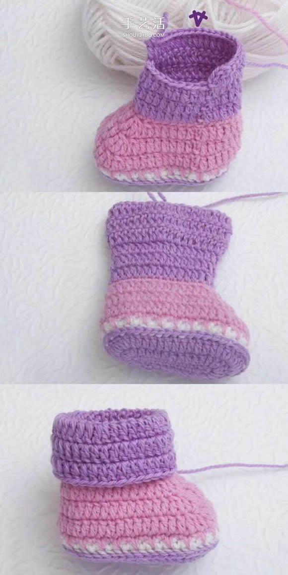 可愛嬰兒鞋的鉤法圖解 鉤織寶寶鞋子的教程