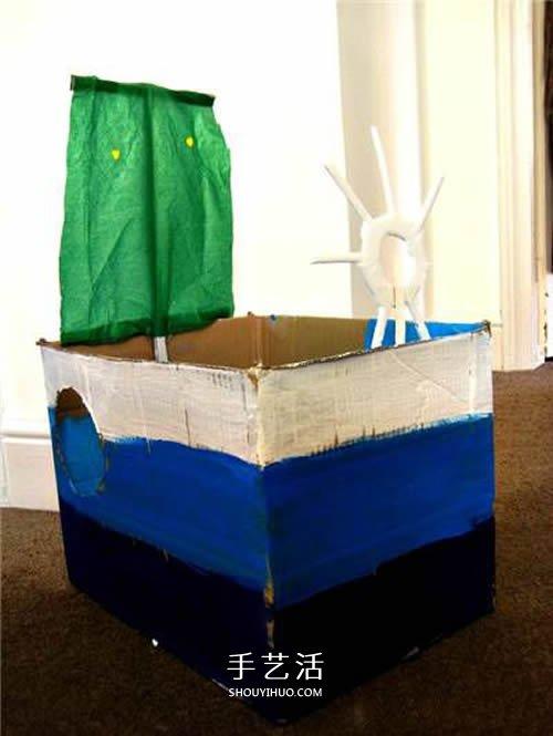 簡單的紙箱廢物利用 手工製作帶帆的玩具船