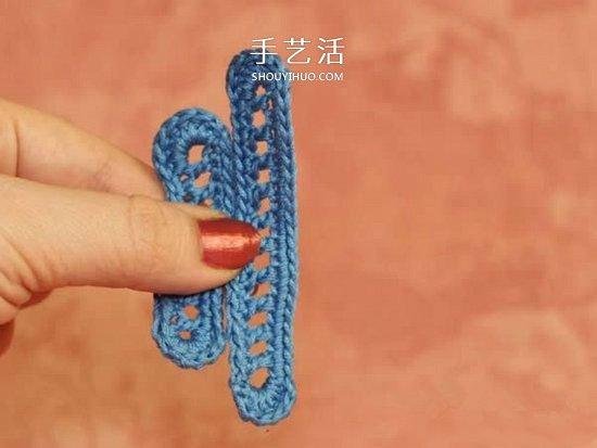鉤織蜻蜓的鉤法圖解 可用作衣物上的漂亮裝飾
