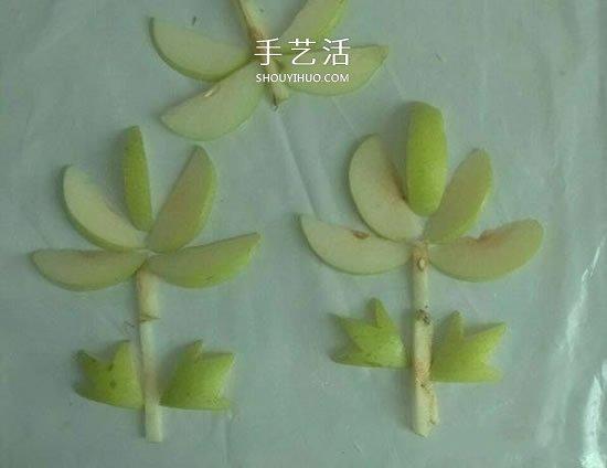 簡單梨子手工 幼兒用水果拼畫花朵的方法