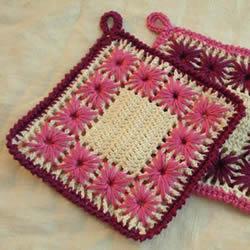 钩织花朵杯垫的图解 手工正方形毛线杯垫钩法