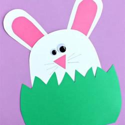 DIY中秋�小兔子�R卡空�g 小白兔生日卡片的做法