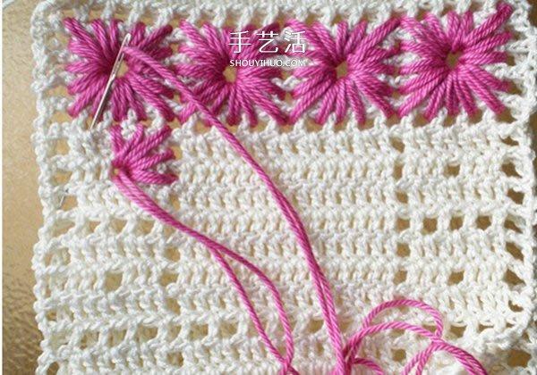 鉤織花朵杯墊的圖解 手工正方形毛線杯墊鉤法