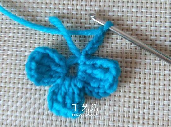 可愛五瓣花朵的鉤法 基礎鉤織毛線小花圖解