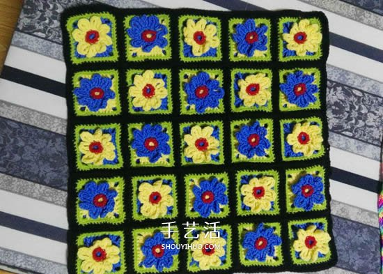 保暖又好看!鉤針編織百日菊坐墊的編法圖解