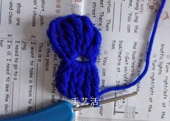 小巧可愛的裝飾 手工鉤針編織蝴蝶結的圖解