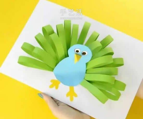 幼兒園手工做孔雀開屏 用到賀卡上也是美美噠