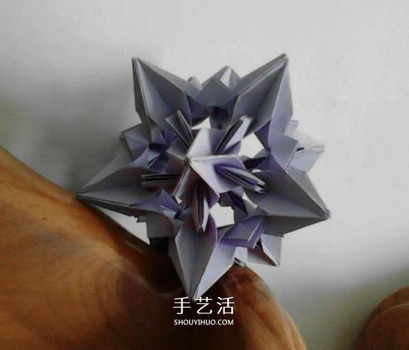 手工星空花球的折法图解 就像镂空的发光星星 -  www.shouyihuo.com