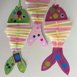 用吸管做小鱼的方法图解 幼儿手工制作小鱼挂饰