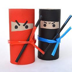 逗趣的卡通人偶DIY 卫生纸筒手工制作忍者