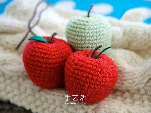 可愛手工蘋果小裝飾!鉤針編織蘋果的方法圖解