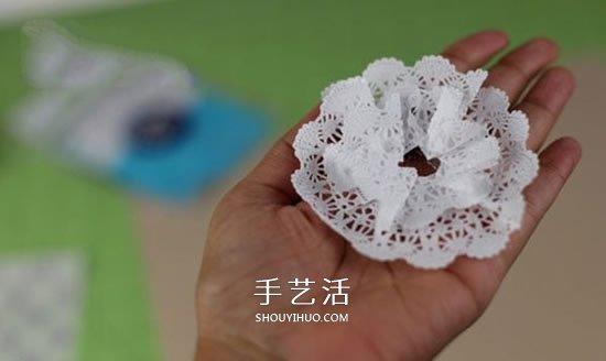 用蕾絲蛋糕紙手工製作美麗的立體紙花圖解