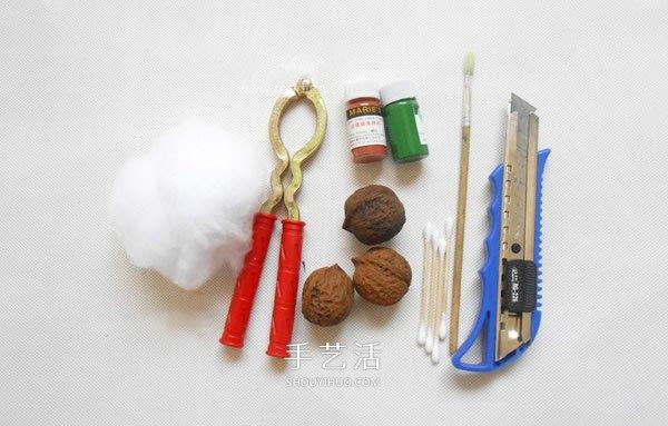 自製迷你針插的方法 大核桃殼手工製作針插