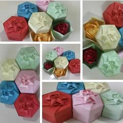 六边形纸盒的折法图解 带六角星图案礼盒折纸