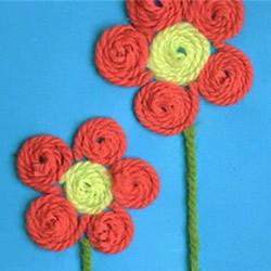 简易毛线小手工制作 自制可爱母亲节花朵贺卡