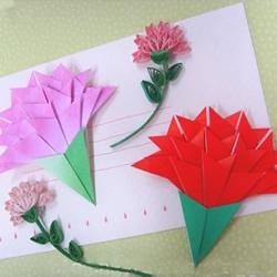 很简单康乃馨折纸步骤 儿童手工康乃馨折法