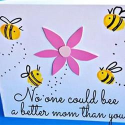 勤劳的妈妈像蜜蜂!母亲节蜜蜂采蜜贺卡制作