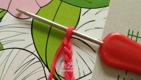 毛線小花的鉤針編織圖解 六瓣花朵的編織教程