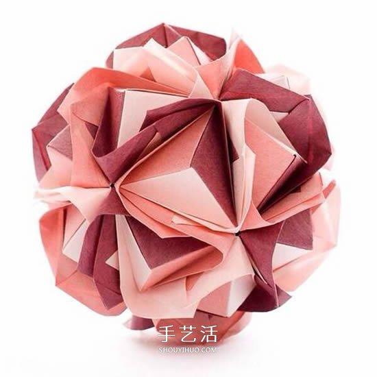 怎麼摺紙花球的圖解教程 折一個掛起來當裝飾