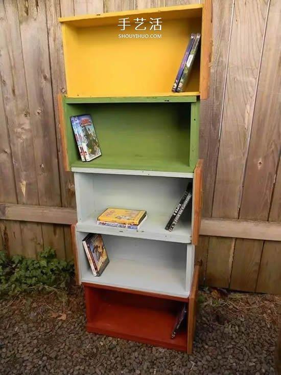 抽屉式收纳柜_创意旧抽屉改造DIY 简单做成好看又实用家具_手艺活网
