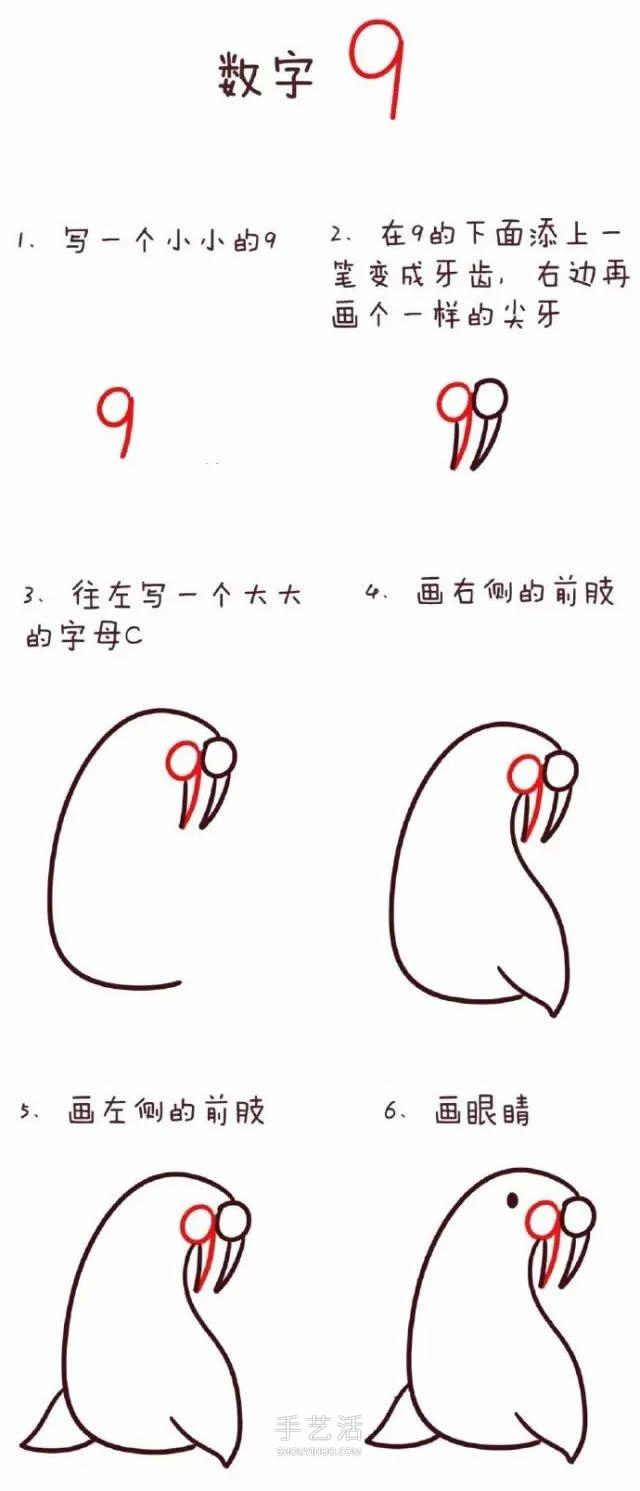 简单易画的小鸟_数字简笔画动物1到10 可爱数字简笔画图片大全(2)_手艺活网