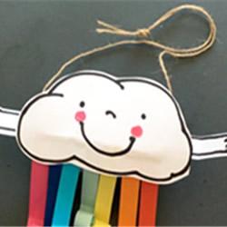 可爱云朵彩虹风铃做法 卷纸筒DIY卡通风铃教程