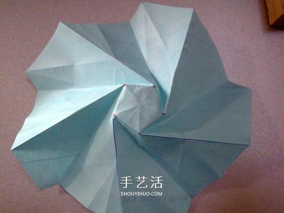 五瓣玫瑰花的折法圖解 比川崎玫瑰更好看!