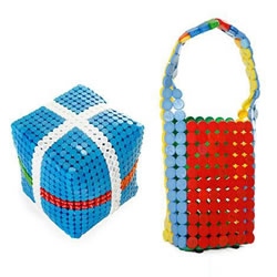 塑料瓶盖废物利用 DIY制作时尚包包和凳子