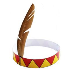 自制简易印第安帽子 幼儿用卡纸做印第安帽子
