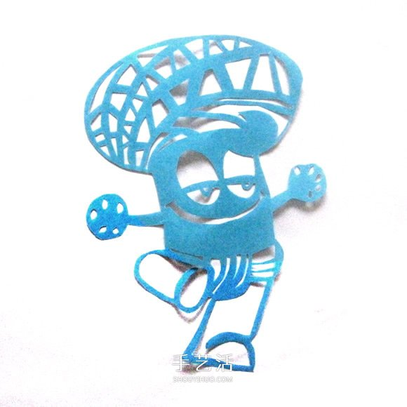 卡通风格世博海宝形象创意剪纸图片教程 -  www.shouyihuo.com