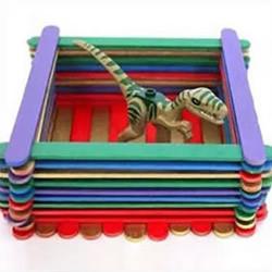 雪糕棍变废为宝 DIY四方收纳盒、笔筒的方法