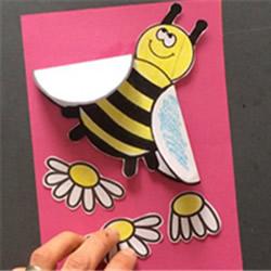 母亲节卡通贺卡制作 可爱小蜜蜂母亲节卡片DIY
