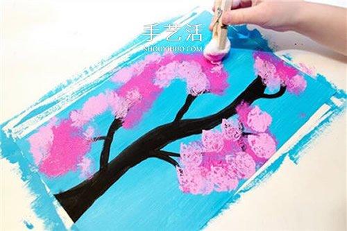 巧用棉花作畫!幼兒手工櫻花樹賀卡製作方法