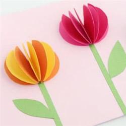 简单郁金香花卡片的做法 幼儿自制郁金香贺卡
