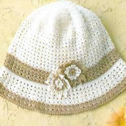 田园风帽子的编织图解 钩针编织甜美毛线帽子