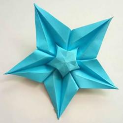 五个角的星星折纸图解 内外双五角星星的折法