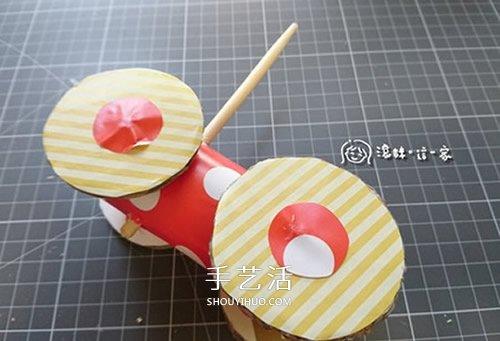 自制橡皮筋回力车教程 橡皮筋动力小车制作图 -  www.shouyihuo.com
