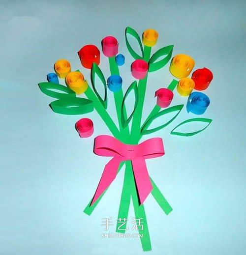 最简单的衍纸花束卡片 母亲节向妈妈表达感恩 -  www.shouyihuo.com