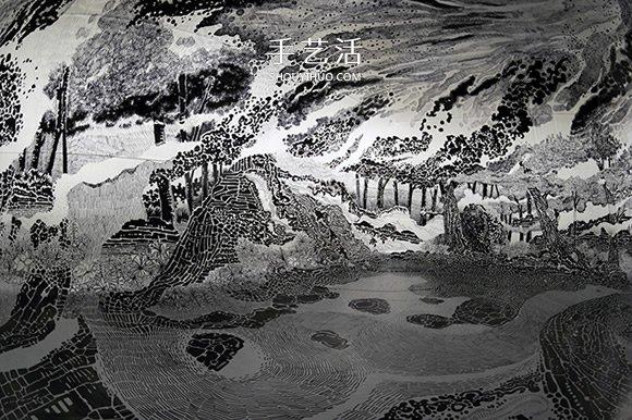 掉入黑白漩涡 120支马克笔画出360度沉浸式装置