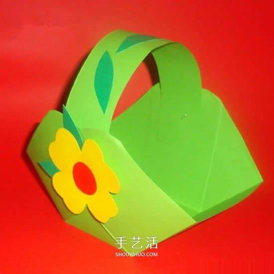 最簡單小花籃的折法 兒童手工摺紙籃子圖解