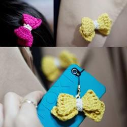 毛线蝴蝶结的编织方法 钩针编迷你蝴蝶结饰品