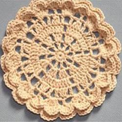 6种花型杯垫的编织图解 钩针织圆形和方形杯垫