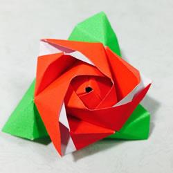 创意情人节折纸:可变玫瑰花的魔术方块折法