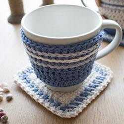 小清新毛线杯垫和杯套的手工编织方法图解