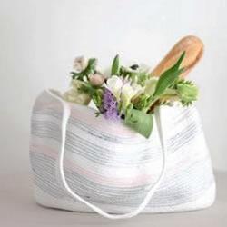 用缝纫机制作小清新毛线购物袋的做法图
