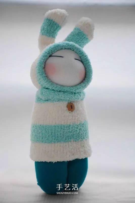 毛绒玩具兔布娃娃_超可爱袜子娃娃作品图片 以及如何制作的教程_手艺活网