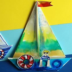 幼儿园用折纸手工制作海滨帆船画的方法