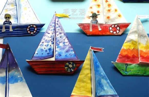 幼兒園用摺紙手工製作海濱帆船畫的方法