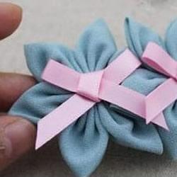 雪纺布手工制作小清新蝴蝶结花朵饰品图解