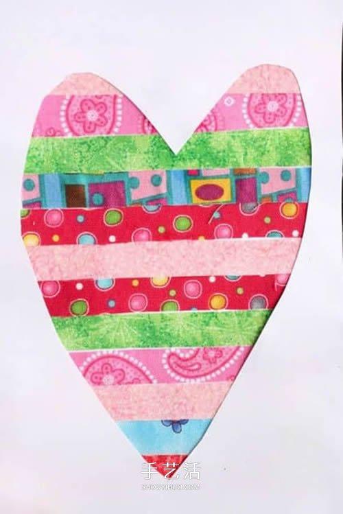 彩色胶带纸手工制作漂亮爱心卡片的方法 -  www.shouyihuo.com